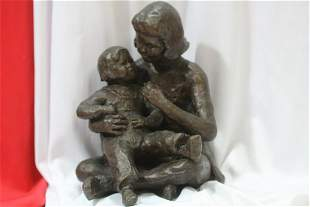A Heavy Signed Bronze Statue of a Mother and Child