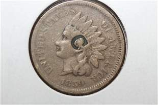 An 1859 Copper Nickel Counter Stamp Indian Head Copper