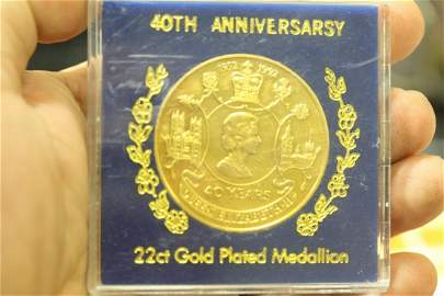 40 Years 22ct Gold Plated Medallion
