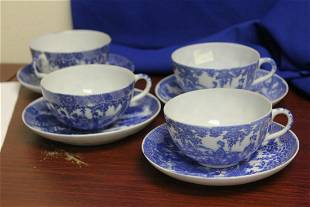 Set of 4 Japanese Blue and White Cups and Saucers