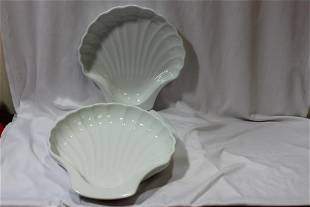 A Set of Two White Porcelain Shell Plates