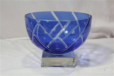A Cobalt Blue Cut Glass Bowl