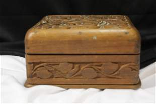 A Vintage Carved Wooden Box