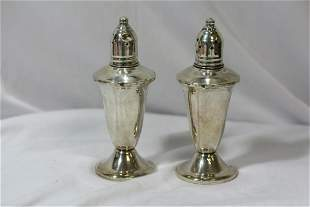 Set of Two Weighted Sterling Salt and Pepper Shakers