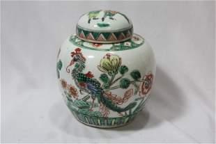 An Antique Famille Verte Ginger Jar