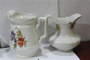 Lot of 2 Antique Ceramic Pitchers