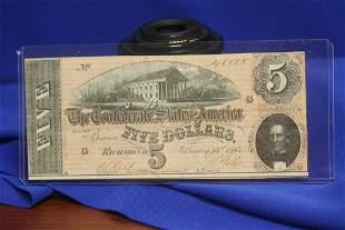 A $5.00 Confederate Note