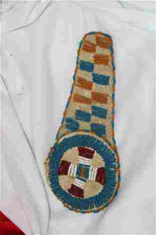 A Vintage Native American Beaded Leather Patch