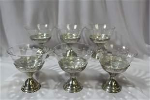 Set of 6 Sterling Base Serbet Cups