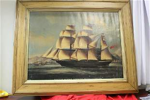 A Framed Glicee of a Clipper Ship on Canvas