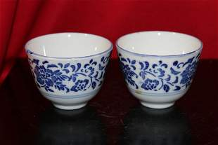 A Lot of Two Chinese Blue and White Tea Cups