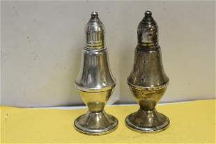 A Pair of Weighted Sterling Salt and Pepper Shakers