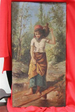 An Unsigned Oil on Wood Panel of a Young Girl