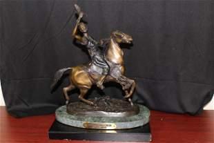 A Bronze Mounted Falconeer by P.J. Mene