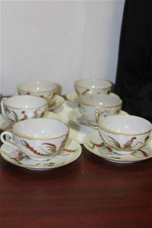 Set of 6 Vintage Chinese Dragon and Phoenix Cup and