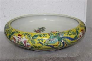 A Vintage/Antiqu Famille Jaune Porcelain Bowl