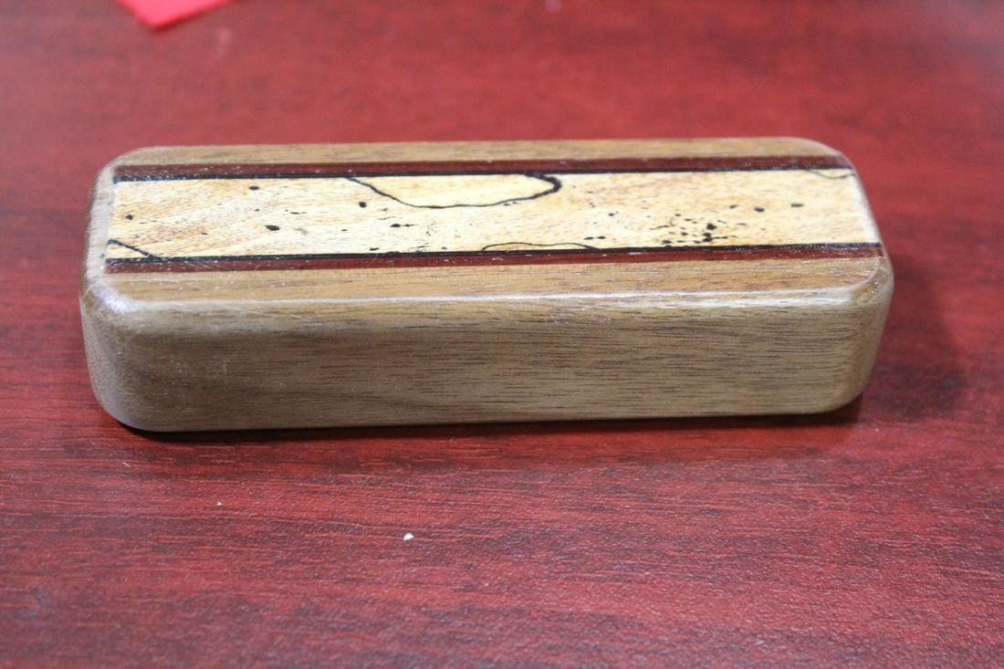 An Inlaid Wooden Slide Trinket Box