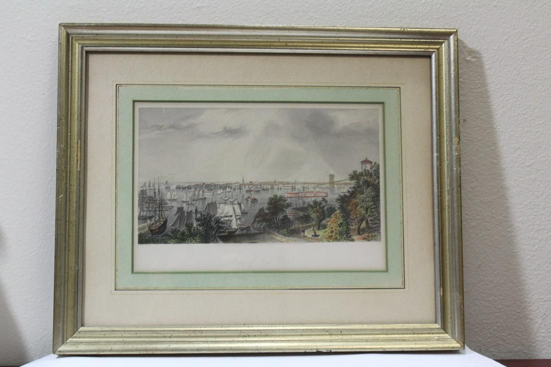 A Framed Engraving of the City of New York