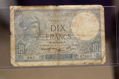 Francs 10 Dix Note