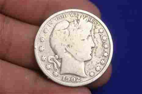 A 1902 Silver Barber Half Dollar