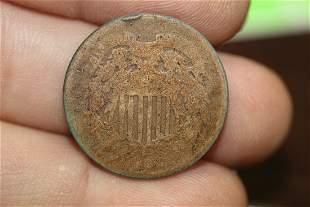 An 1864 Civil War Era 2cent Piece