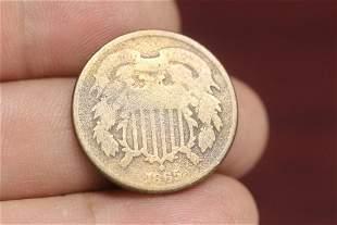 An 1865 2 Cent Piece