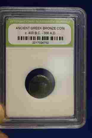 A Slabbed Ancient Greek Bronze Coin