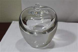 A Signed Macy Crystal Apple Paperweight
