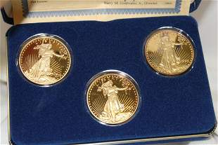 A 24Kt Layered on Pure Silver 3-Coin Set