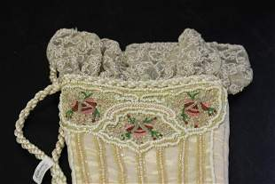 A Nice Beaded Shoe Container or Pocket
