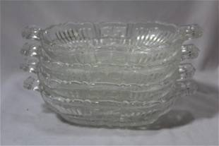 Lot of 4 Pressed Glass Oval Dish