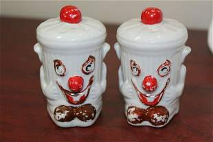 A Pair of Vintage Ceramic Clown Salt and Pepper Shakers
