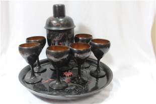 A Rare Signed Chinese Lacquer Tray with Bottle and Cups