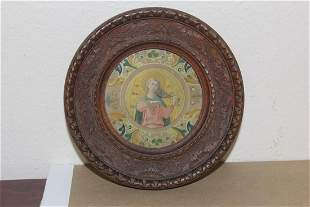 An Antique Nicely Carved Religious Framed Print