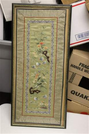A Vintage Chinese Silk Panel