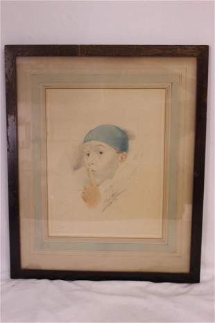 An Antique Hand Pencil Signed Etching