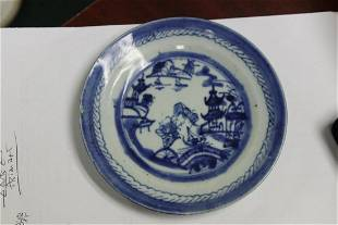 A Chinese Export Flow Blue Plate