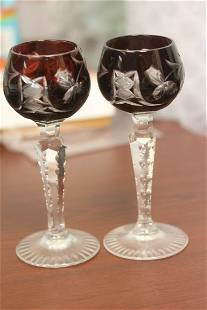 A Pair of Ruby Red Cut Glass Goblets