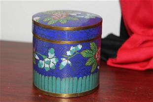 An Antique Chinese Cloisonne Cylinder Box