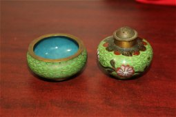 An Antique Chinese Cloisonne Salt and Pepper Shaker