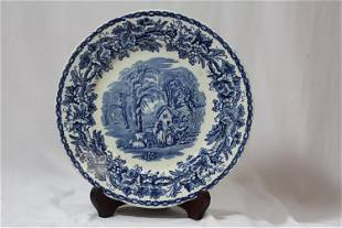 A Vintage flow Blue or Blue and White Plate