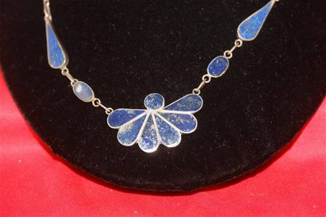 Sterling Lapis Lazuli Necklace and Earrings Suite
