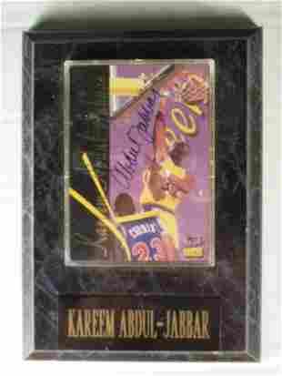 Kareem Abdul-Jabar: sgnd card plaque - Appraised