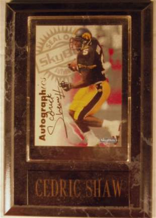 Cedric Shaw: sgnd card plaque - Appraised at $60.
