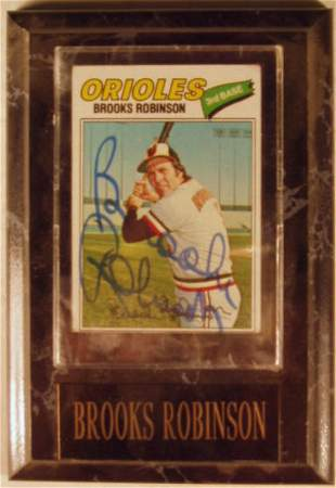 Brooks Robinson: sgnd card plaque - Appraised at