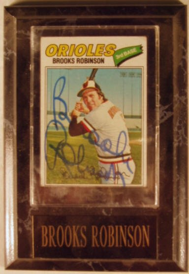 1003: Brooks Robinson: sgnd card plaque - Appraised at