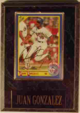 Juan Gonzalez: sgnd card plaque - Appraised at $6