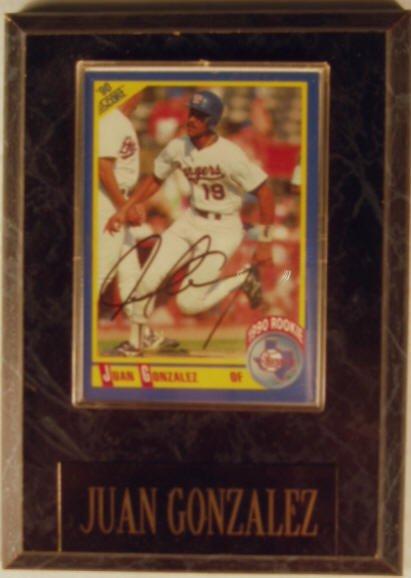 1004: Juan Gonzalez: sgnd card plaque - Appraised at $6