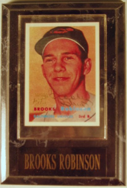 1005: Brooks Robinson: sgnd card plaque - Appraised at