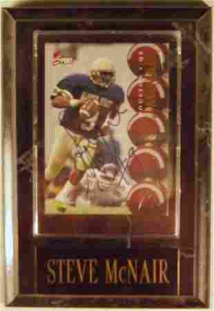 Steve McNair: sgnd card plaque - Appraised at $65